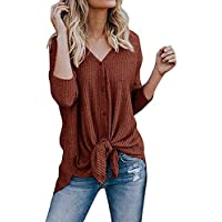 Aifer Womens Waffle Knit Tunic Blouse Tie Knot Henley Tops Batwing Loose Fit Plain Shirts