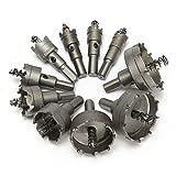 Drillpro 10PCS TCT ドリルビット ホールソーセット ステンレス 超硬 高速度鋼 金属合金 対応 木工 プラスティック 鉄 アルミ ステンレス スチロール 等 用 穴あけ 16mm-53mm