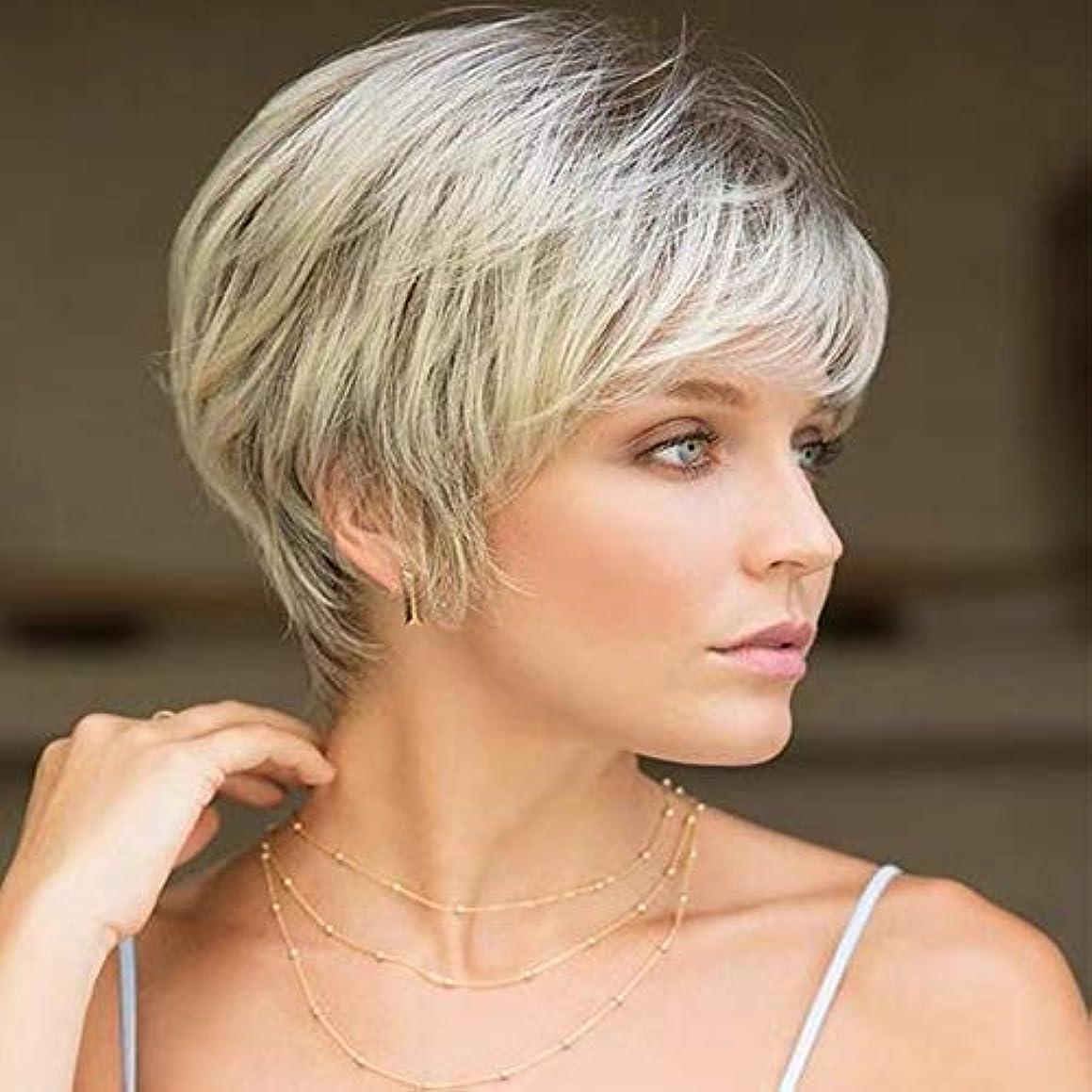 カヌー市場厚くする女性用ライトブロンドショートカーリーヘアウィッグ自然髪ウィッグ前髪付き合成フルヘアウィッグ女性と女の子用ハロウィンコスプレパーティーウィッグ