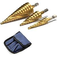 ステップドリル 六角軸 スパイラル 螺旋 チタンコーティング 収納ポーチ付 ミリ(mm)表示 HSS鋼  3本セット 3pcs 4-32mm 15段 4-20mm 9段 4-12mm 9段