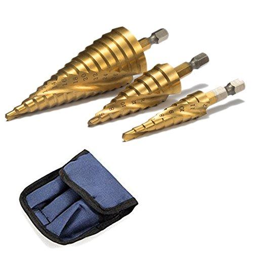 ステップドリル 六角軸 スパイラル 螺旋 チタンコーティング 収納ポーチ付 ミリ(mm)表示 HSS鋼  3本...