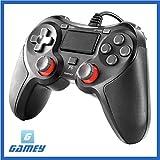 【Gamey】 新型 PS4 コントローラー DUALSHOC4 (PS4/PS3対応 USBケーブル コントローラー 振動対応) クロス & 日本語説明書 & 1年保証付き