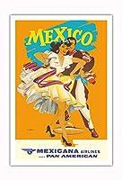 メキシコ - Mexicana (CMA) - パンアメリカンのアフィリエイト - ビンテージな航空会社のポスター によって作成された ライト c.1950s - アートポスター - 76cm x 112cm