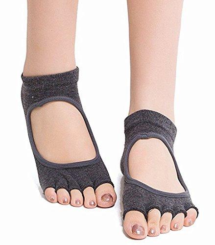 ANATMAN ヨガ ソックス 滑り止め付き 5本指 yoga ホットヨガ 靴下 ウェア スポーツ ジム (濃いグレー)