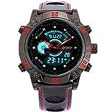 BINZI メンズ腕時計 ミリタリー,カジュアル 多機能 防水 レザーバンド アナログ表示 日付 1609 ブラックレッド