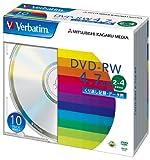 三菱化学メディア Verbatim DVD-RW 4.7GB くり返し記録・データ用 2-4倍速 5mmケース 10枚パック シルバーディスク DHW47Y10V1