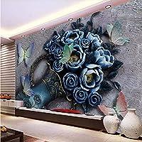 Wuyyii カスタム壁紙リビングルームの寝室3D三次元花蝶エンボス壁画装飾 - 400×280センチ