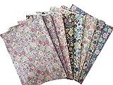 YUWA 綿麻キャンバスレトロ花柄ラミネートカットクロスセット8枚セット