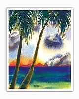空中に音楽があります - ハワイアンサンセット - オリジナルハワイ水彩画から によって作成された ペギー チュン - アートポスター - 41cm x 51cm