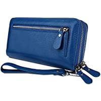 YALUXE Women's RFID Blocking Security Double Zipper Large Smartphone Wristlet Leather Wallet
