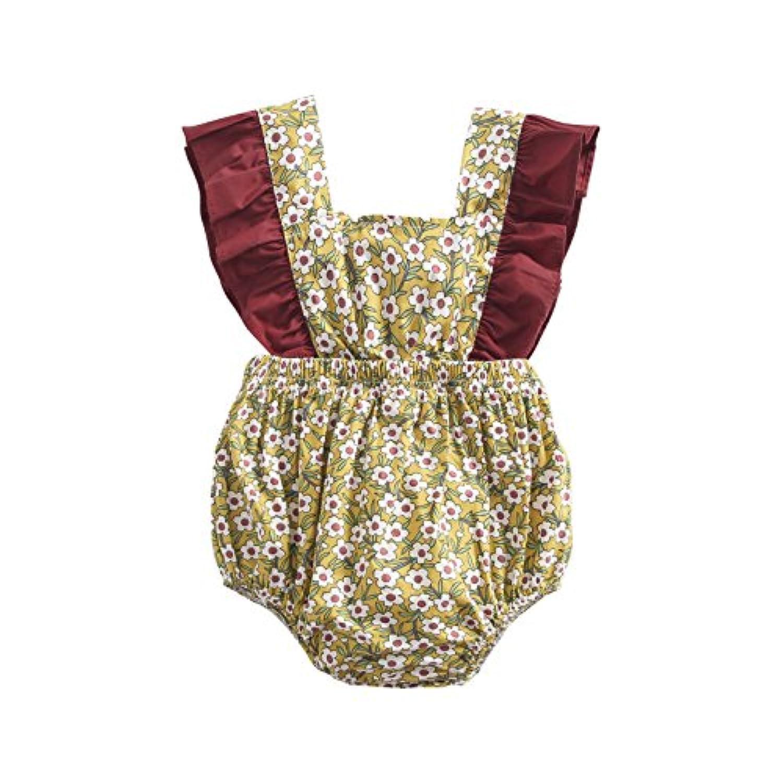 可愛い 子供服 新生児 赤ちゃん 女の子 コットン 花 プリント 可愛い 夏 ボディスーツ ロンパース ジャンプスーツ (2?3歳, BRS8043)