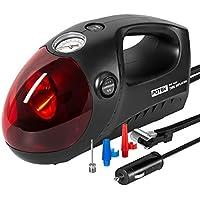 車用空気入れ POTEK 電動 エアコンプレッサー 空気圧測定可能 ライト搭載 DC12Vシガーソケット接続式 3種類アタッチメント(自動車/バイク/自転車)などに対応 日本語取扱説明書