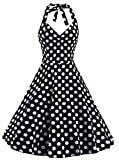 レディースドレス ワンピース パーディードレス Aライン 袖なし 春夏 ラブリー 花柄 水玉柄 バックレスドレス