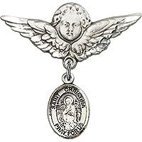 スターリングシルバー赤ちゃんバッジwith聖Christina The AstonishingチャームとエンジェルW / Wingsバッジピン11/ 8x 11/ 8インチ