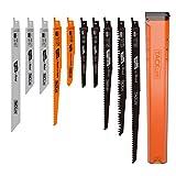 TACKLIFE ARSB01A レシプロソー替刃 10点组 電気のこぎり替え刃 鉄工・木工用 収納ポッチ付き 枝切り用・庭木剪定など対応