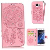 CUSKING Galaxy S7 Edge ケース 手帳型 ケース PUレザー カードポケット付き ストラップ付き 財布型 ケース ギャラクシ S7 エッジ 対応 カバー ドリームキャッチャー トーテム 柄 キラキラ ダイヤモンド ケース - ピンク