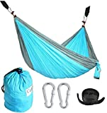 Cutequeen Double Nest Parachute Camping Hammock with Tree Straps by For Travel Camping,Backpacking,Kayaking:sky blue/grey