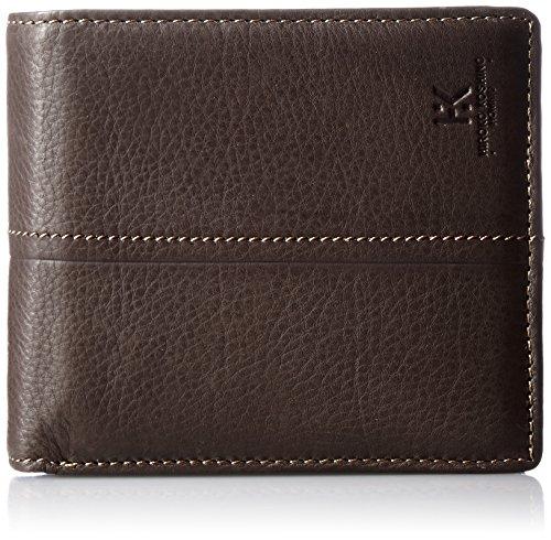 [ヒロコ コシノ オム] 財布 スムースレザー 二つ折り カード大容量タイプ 小銭入れ付き 本革 紳士用 ダークブラウン