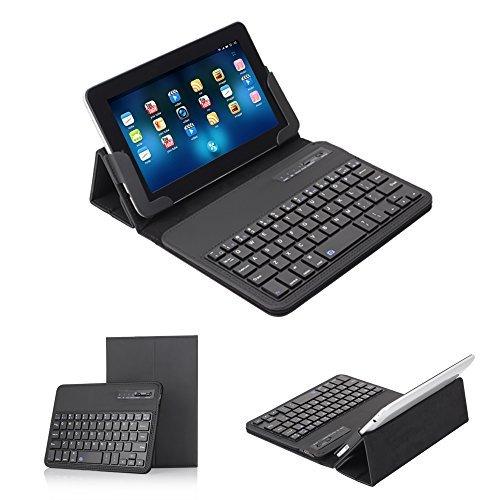 Ewin® 7-8 インチ タブレットキーボードカバー Bluetooth3.0 US配列 着脱式キーボードケース 保護ケース Wi...