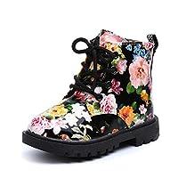女の子子供用花の靴 暖かい キッズシューズ ベビーマーティンブーツカジュアルな子供のブーツ OVERMAL (28, 黒い)