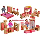 Giraffe US Wood Family Dollhouse Furniture Set, Pink Miniature Bathroom/Kid Room/Bedroom/Kitchen House Furniture Dollhouse Decoration with 4 People Wooden Family Dolls (2-4 inches each)
