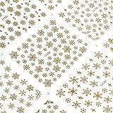雪の結晶シール 大判BIGビッグサイズ12種大容量ステッカー ネイル用文具貼り紙雪の花華スノー 3色選べる金銀白 冬 (金色 Gold)