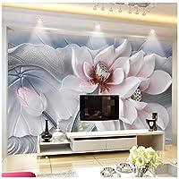 Mingld 蓮のレリーフ壁3D背景の壁の装飾蓮のレリーフカスタム大壁画壁紙-400X280Cm