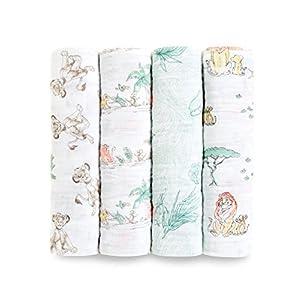 aden + anais (エイデンアンドアネイ) 【日本正規品】 モスリンコットン おくるみ 4枚セット ディズニー ライオンキング 4pack swaddles-DISN105J