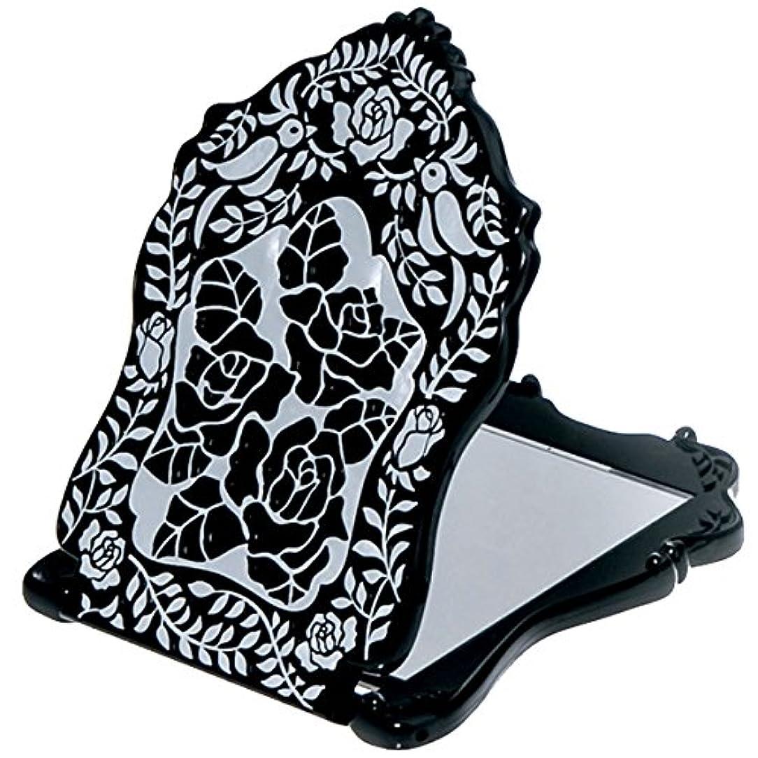暗殺者お茶ブランド名(アナスイ) ANNA SUI ビューティ ミラー N 鏡 コンパクト ビューティー 黒 ブラック ロゴ ローズ 薔薇 バラ