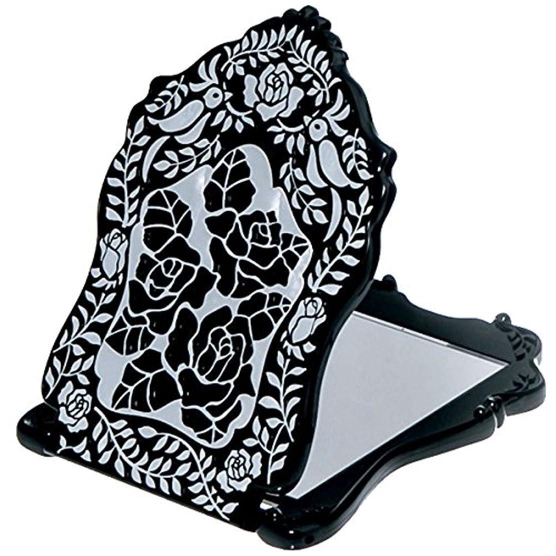 の間で端末モザイク(アナスイ) ANNA SUI ビューティ ミラー N 鏡 コンパクト ビューティー 黒 ブラック ロゴ ローズ 薔薇 バラ