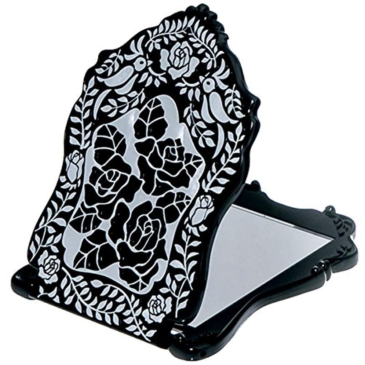 事業内容プラグ別の(アナスイ) ANNA SUI ビューティ ミラー N 鏡 コンパクト ビューティー 黒 ブラック ロゴ ローズ 薔薇 バラ