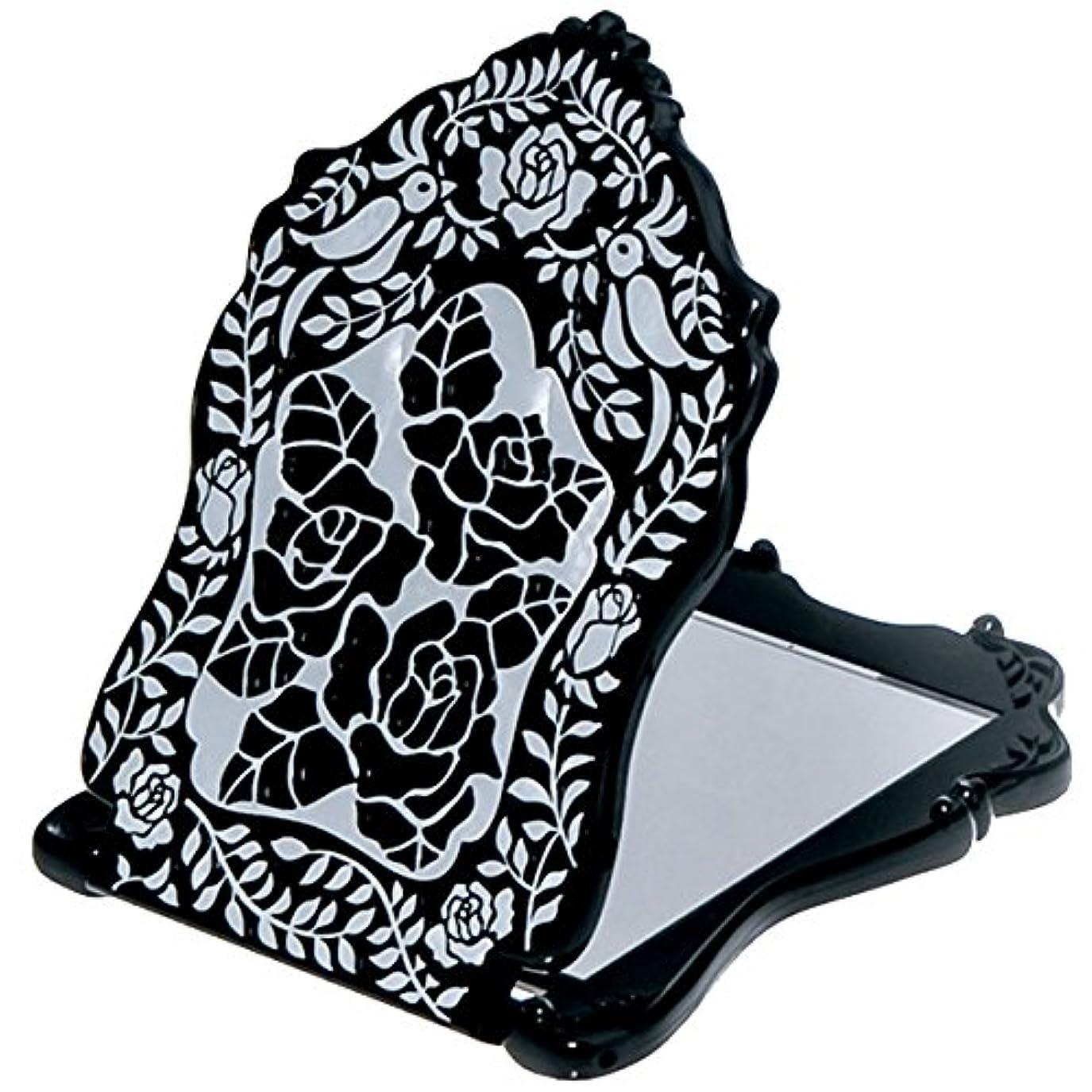 望み固体承認(アナスイ) ANNA SUI ビューティ ミラー N 鏡 コンパクト ビューティー 黒 ブラック ロゴ ローズ 薔薇 バラ