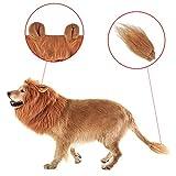 Airtana ライオンたてがみ 犬用 ライオンコスプレネックウォーマー ブラウン 尾と耳付き