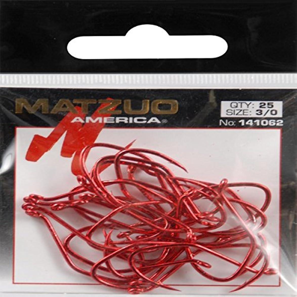 未使用恐ろしいです硬さMatzuo鎌タコフック25パック、赤クロム、3 / 0