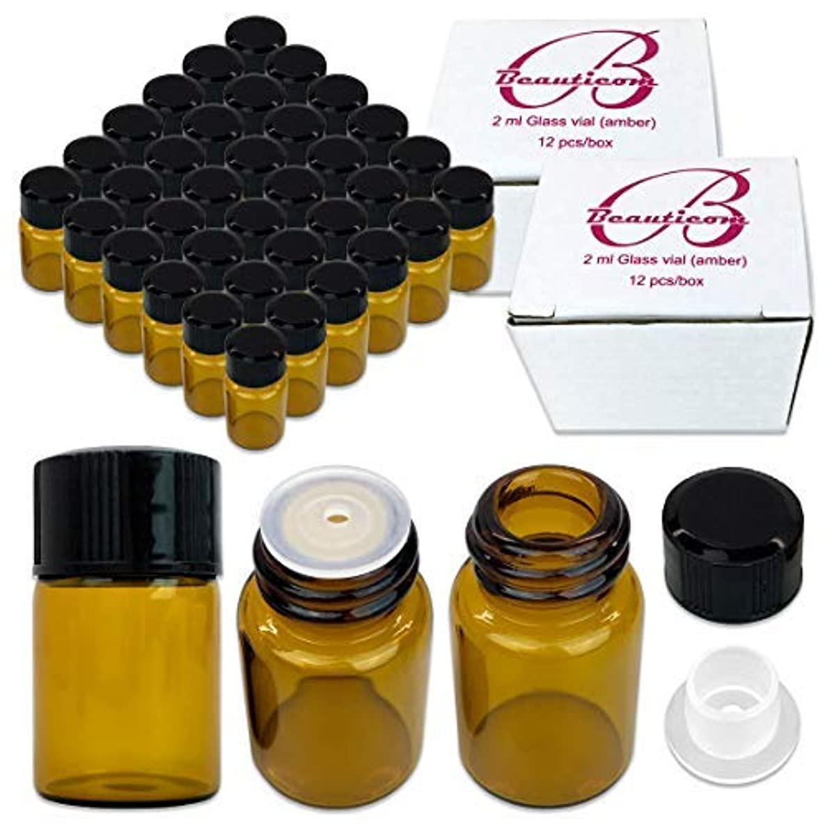 上がる彫るスリム72 Packs Beauticom 2ML Amber Glass Vial for Essential Oils, Aromatherapy, Fragrance, Serums, Spritzes, with Orifice...