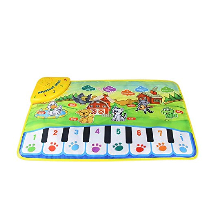 Musicalマット、elevin ( TM )新しい男の子女の子動物園動物ミュージカル音楽再生タッチSingingジムカーペットマットBestキッズ赤ちゃんクリスマスギフト