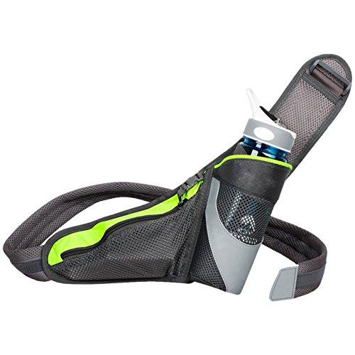 Ueasy ランニングポーチ ジョギングポーチ ランナー ポーチ ペットボトル iPhone6 Plus 収納可 イヤホンの専用穴付 (蛍光グリーン)