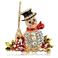 Interlink クリスマスブ ローチピン 飾り 雪だるま キラキラ ラインストーン ブローチ ピン ギフト おしゃれ アクセサリー プレゼント 贈り物 メンズ レディース 子供 (1枚)