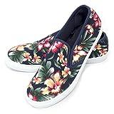 (アルコット) ALCOTT スリッポン 靴 メンズ エスパドリーユ サイドゴア ボタニカル柄 イタリア Italy春 夏 正規品 43(28-29cm) ネイビー(SC611-C218)