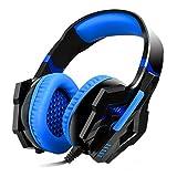 MOFIR ゲーミング ヘッドセット3.5mm ゲーミングヘッドホン ヘッドバンド ステレオミニジャック ステレオ 発光ヘッドフォン マイク位置 PS4 PC Xbox One iPhoneスマホなど対応 音量調節機能付き 高音質 マイク付き 重低音 騒音隔離 ヘッドアーム伸縮可能 3D仮想スピーカーの変位技術(ブルー)