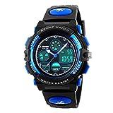 BesWlzボーイズビューマルチファンクションデュアルタイムデジタル時計スポーツスポーツ防水キッズウォッチ (ブルー)