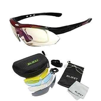 BLIEST スポーツサングラス 偏光レンズ サイクリングサングラス UVカット ランニングサングラス メンズ レディース ユニセックス サイクリング アイウェア フルセット専用交換レンズ5枚 4カラー レッド