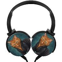 ブラックWidow Kittyステレオヘッドフォン軽量マイクover、かわいい耳付きヘッドセット、iPhone、iPad、スマートフォンとテレビ3.5MMブラック