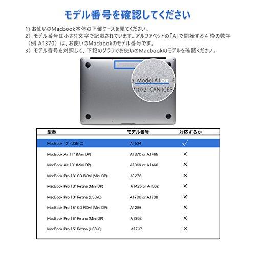 12インチMacBook用 専用シェルカバー LENTION ハードケース 丈夫なゴム足 柔軟性高い(マット・半透明・ブラック)