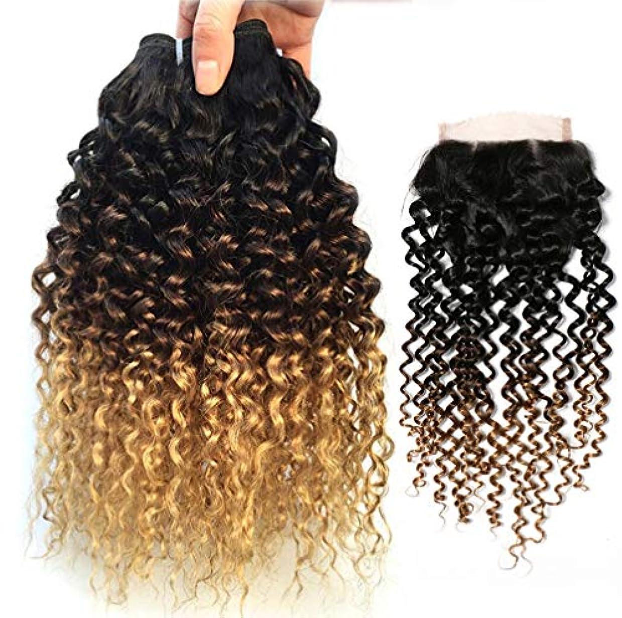 ロビーラップトップパズル女性の髪の織り方ブラジルの髪の波の閉鎖オンブル人間の髪の束茶色のバージン髪人間の髪の織り(3バンドル)