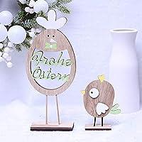 Kuke® イースターバニー装飾 パーティーデコレーション イースター復活祭 可愛い鶏 木製立体 子供のおもちゃ ギフト プレゼント 置物モデル 復活祭 デスク飾り 3Dおもちゃ インテリア 飾り付け