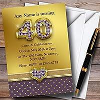 ゴールドサテンとハートパープル40thパーソナライズ誕生日パーティー招待状 10 Invitations