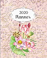 2020 Planner: Lotus Daily, Weekly & Monthly Calendars | January through December | Flower Floral #4 | Pink Glitter