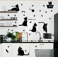 Weaeo 新しい到着ラブリー猫の足の魚遊ぶ壁ステッカーリビングルームステッカー壁のための装飾デカール/ビニールリムーバブルデカール壁画