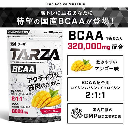 TARZA(ターザ) BCAA 8000mg アミノ酸 クエン酸 パウダー マンゴー風味 国産 500g B07NNDFZ52 1枚目